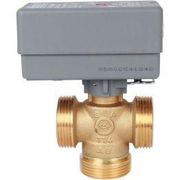 """Компактный клапан зональный 3-ходовой, сервопривод 230V, кабель 1м,  НР 1 1/4"""", Kv 8 STOUT"""